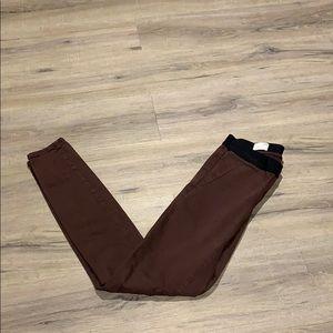 Red elastic, pant looking leggings